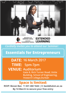 Essentials for Entrepreneurs Seminar 16 March 2017